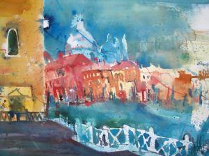 Venedig, Aquarell von Andreas Mattern 56/76cm