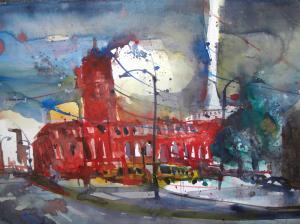 Rotes Rathaus Berlin, Aquarell 56/76 von Andreas Mattern