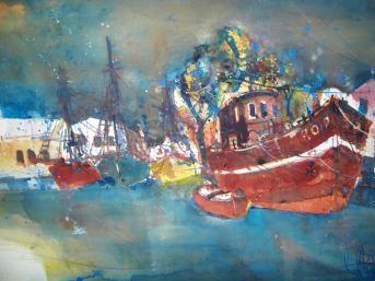 Bodstedt (Hafen) Aquarell 56/76 cm, von Andreas Mattern