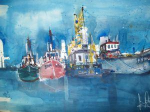 Hafen Barth, Aquarell 56/76cm von Andreas Mattern