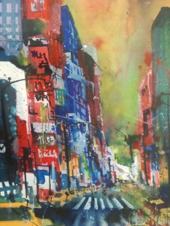 New York, Aquarell 76/56 cm, von Andreas Mattern