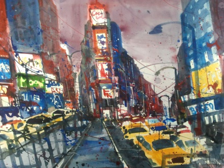 New York Aquarell 56/76 cm , von Andreas Mattern