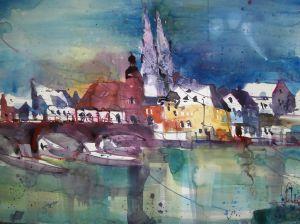 Regensburg, Aquarell 56/76 cm, von Andreas Mattern