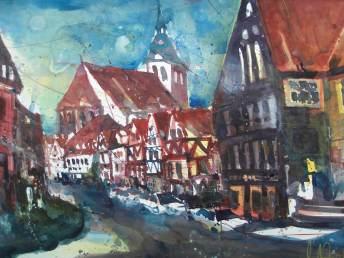 Lüneburg,Aquarell 56/76cm, von Andreas Mattern