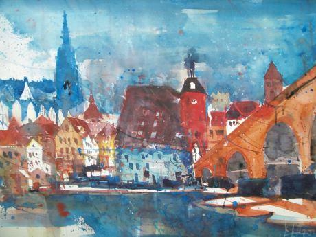 Regensburg , Aquarell 56/76 cm Andreas Mattern