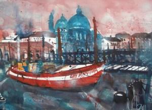 Venedig Santa Maria, Aquarell 56/76 cm von Andreas Mattern