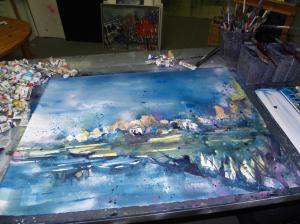 Entstehung Aquarell Landschaft bei Prerow 56/76cm von Andreas Mattern