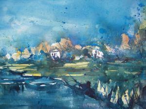 Landschaft bei Prerow, Aquarell 56/76cm, von Andreas Mattern