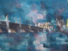 Prag, Karlsbrücke, Aquarell 56/76 cm, Andreas Mattern