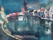 Lübeck, Malerwinkel, Aquarell 56/76 cm, Andreas Mattern