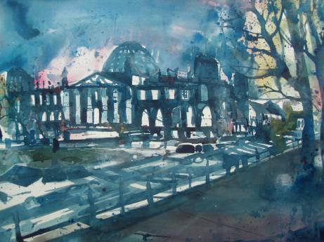 Berlin, Reichstag, Aquarell 56776 cm, Andreas Mattern