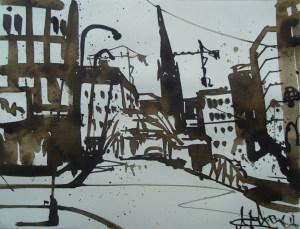 Hamburg, Sandtorkai; Moorlauge auf Aquarellpapier 29/36 cm, Andreas Mattern