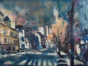 Berlin, Oranienburger Str., Aquarell 56/76 cm, Andreas Mattern