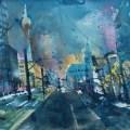 Berlin, Blick von der Prenzlauer Allee, Aquarell 56/76 cm, AndreasMattern
