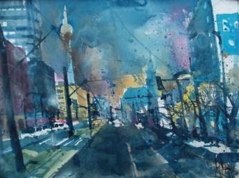Berlin, Blick von der Prenzlauer Allee, Aquarell 56/76 cm, Andreas Mattern