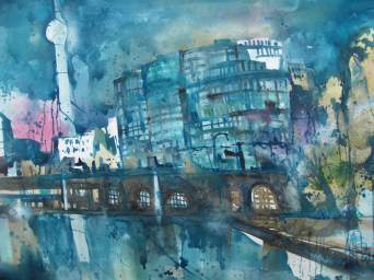 "Berlin ""Trias"", Aquarell 56/76 cm, Andreas Mattern"