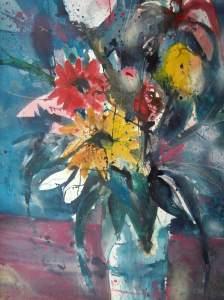 Blumenaquarell 76/56 cm, Andreas Mattern