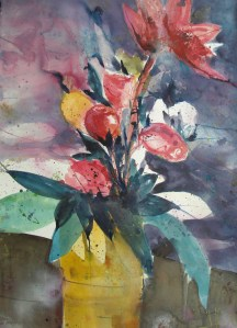 mit gelber Vase, Aquarell 95/65 cm, Andreas Mattern