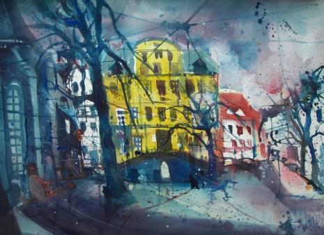 Weimar Herderplatz, Aquarell 56/76 cm, Andreas Mattern