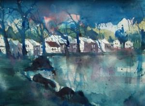 Landschaft, Aquarell 56/76 cm , Andreas Mattern