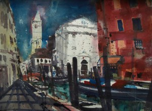 "Venedig ""San Barnaba"" Aquarell 56/76 cm, Andreas Mattern"