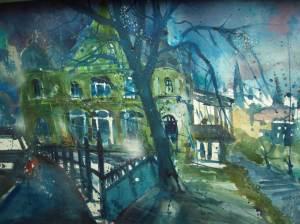 Heidelberg Verbindungshaus, Aquarell 56/76 cm, Andreas Mattern