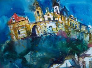 Stift Melk, Wachau Aquarell 56/76 cm Andreas Mattern 2012