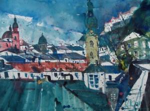 Salzburg St.Peter, Aquarell 56/76 cm, Andreas Mattern 2012