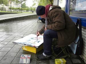 Andreas Mattern beim malen....