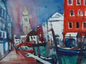 "Venedig ""San Barnaba"", Aquarell 56/76 cm, Andreas Mattern, 2012"