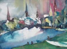 "Andreas Mattern, ""Hamburg Aussenalster."" Aquarell 56/76 cm , 2012"
