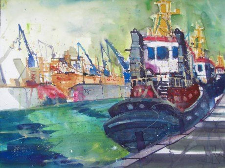 "Hamburg ""Schlepper"" , Aquarell 56/76 cm, Andreas Mattern, 2012"