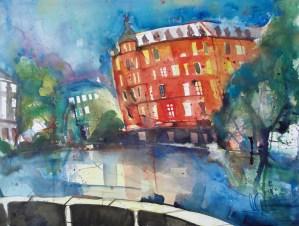 "Aquarell ""Hamburg-Bergedorf"" , auf Lana Bütten 640g sat., Andreas Mattern 2012"