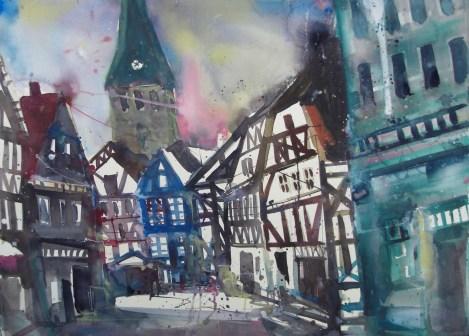 """Andreas Mattern, """"Hattingen/Fachwerk"""" Aquarell 56/76 cm , 2012"""