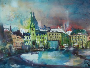 "Andreas Mattern, ""Hamburg Binnenalster"", Aquarell 56/76 cm, 2012"