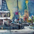 """Andreas Mattern """"Berlin, Karl-Liebknecht -Str."""", Aquarell 56/76 cm,2012"""