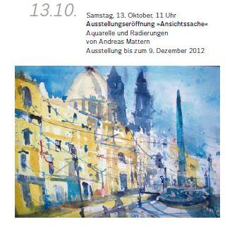 Ausstellung Gut Geisendorf, Aquarelle , Andreas Mattern 13.10.2012