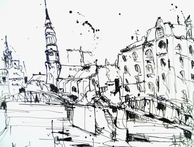 """Andreas Mattern """"Hamburg"""" Zeichnung, 47/38 cm, 2012"""
