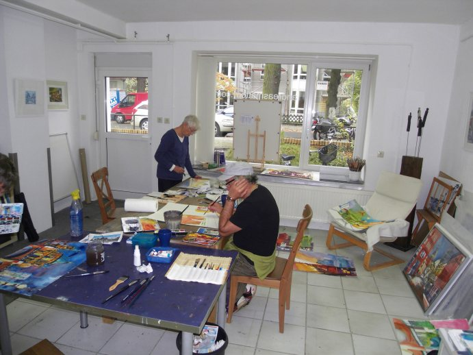 AquarellVerrückte im Atelier, Andreas Mattern 2012