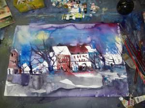 Landschaft in Arbeit, Aquarell, Andreas Mattern, 2012