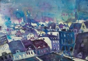 Dachlandschaft Lübeck mit Jakobi- und Marienkirche, Aquarell 56/76 cm, Andreas Mattern, 2012