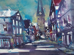 Hattingen, Aquarell/Watercolor, 56/76 cm, Andreas Mattern, 2013