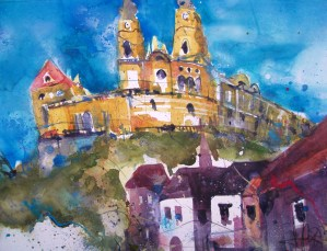 Stift Melk, Aquarell/Watercolor 56776 cm von Andreas Mattern 2013