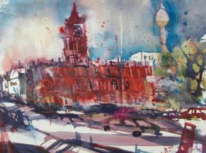 Rotes Rathaus Berlin, Aquarell 56/76 cm von Andreas Mattern