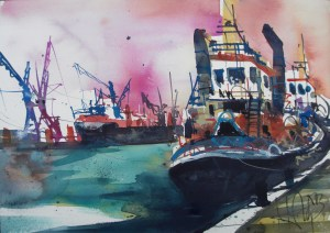 Hamburg-Schlepper-Aquarell-Watercolor 36/51cm-Andreas Mattern-2013-WV 047/2013