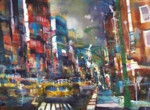 N.Y. by Nigth , Aquarell 56/76 cm , Andreas Mattern  2013