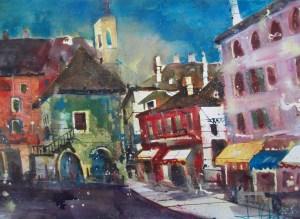 Orta San Giulio, Aquarell/Watercolor, 56/76 cm von Andreas Mattern, 2013