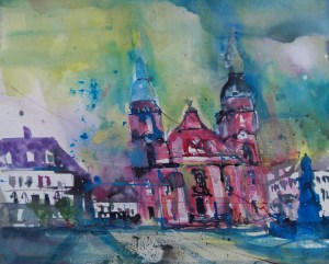 Stadtkirche Ludwigsburg, Aquarell/Watercolor 45/51 cm, Andreas Mattern, 2013
