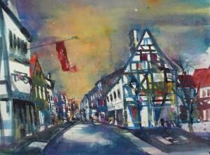 Ahrweiler, Aquarell/Watercolor 56/76 cm, Andreas Mattern, 2013 auf LANA 640g sat.