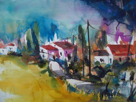 Toskana, Aquarell/Watercolor 56/76 cm, Andreas Mattern 2013 WV: 042/2013